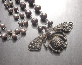 Pearl Assemblage Beaded Necklace Grey Fresh Water Pearls Bee Pendant