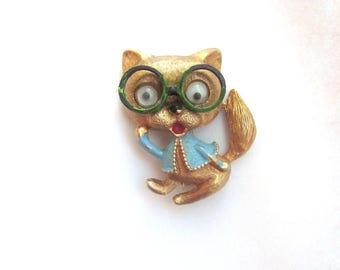 Vintage Figural Cat Brooch Wiggle Google Eyes
