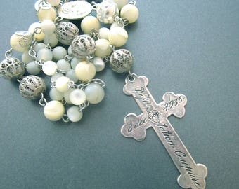 Cross Necklace Reversible Nun's Cross Mother of Pearl Silver Filigree Rosary Y Lariat Religious Necklace
