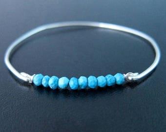 Sterling Silver Turquoise Bracelet, December Birthstone Jewelry, Turquoise Bead Bracelet, Turquoise Silver Bracelet, Sterling Bracelet