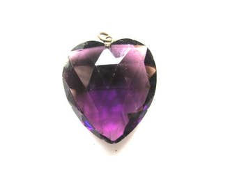 Purple Glass Heart Charm Amethyst Pendant Vintage Puffy Assemblage Jewelry Supply