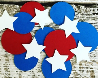 CONFETTI - Captain America table confetti - Red White & Blue Patriotic Confetti Dots and Stars- Captain American Birthday Party
