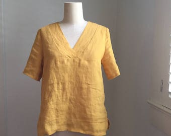 V Neck Linen Top, Short Sleeve, Loose Fitting