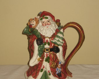 Vintage 1993 Fitz and Floyd Santa Teapot, Whimsical Pottery Figural, Ceramic FF Christmas Collectible