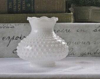 Vintage Milk Glass Hobnail Shade, Ruffled Hurricane Lamp Shade, Mid Century Replacement Lighting Shade