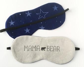 Mama Bear Sleeping Mask, gift for mom, Rustic Sleep Mask // Pregnancy Gift // Baby Shower Gift // New Mom Gift // mom to be gift