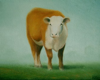"Original Cow PAINTING  Farm Animal Painting  Calf Painting Fine Art gift 8 x 10""  by Sharon France  Oil on Canvas Painting Country Landscape"