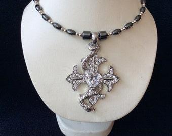 Cross and snake rhinestone hand beaded magnetic hematite memory wire choker necklace