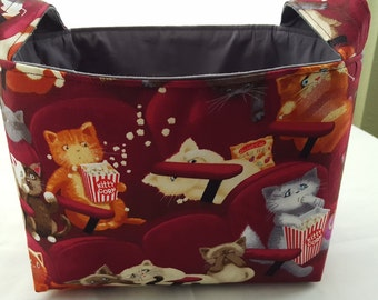 Fabric Organizer Storage Basket Bin Container - Movie Theater Cats Maroon