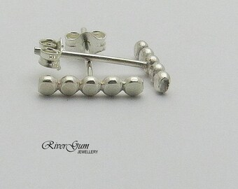 Bar Stud Earrings, Sterling Silver Dot Bar Earrings, Dot Earrings, Bar Earrings, Minimalist Earrings, Handmade by Rivergum Jewellery on Etsy