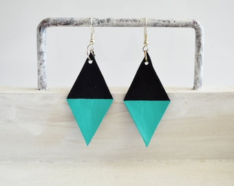 Handpainted Black and Turquoise Leather Kite Earrings