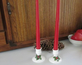 Holiday Candlesticks – Pair Ceramic Holly Candle Holders for Taper Candles – Bone China – Lillian Vernon – Vintage Christmas Décor