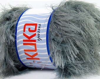 SUPER SOFT FUR grey ice yarns 100gr gray 5 Bulky Chunky Craft Rug 87 yrds ships from usa connecticut 35175