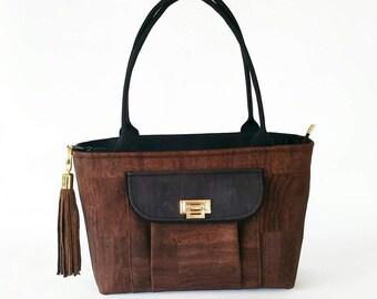 RESERVED for amr4332 - Brown cork shoulder bag-handmade