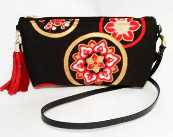FREE domestic shipping - Silk Japanese Obi Clutch with Leather Shoulder Strap