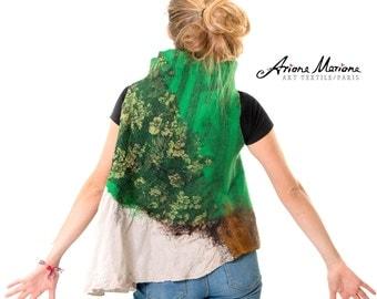 Reversible Merino Wool Linen Women Art Vest - OOOAK Wearable Art - Ecologique Handmade Women Garment From France, Paris