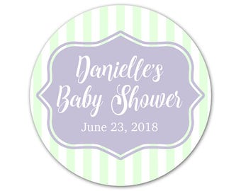 Personalized Baby Shower Stickers - Custom Labels - Shower Stickers - Favor Labels - Striped Stickers - Baby Shower Favors - Favor Stickers