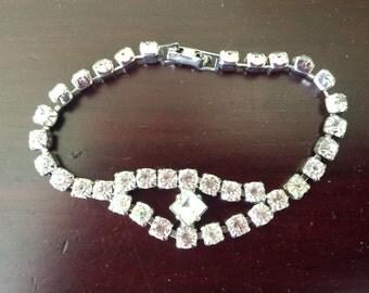 Rhinestone bracelet, vintage rhinestone bracelet, the lure of diamonds