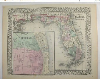 1871 Antique Map Florida State Map, Vintage Florida Gift, Mitchell Florida Map, Vacation Gift for Parents, 1st Anniversary Gift for Couple