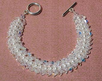 Flat Spiral bracelet,Swarovski White Pearl Bridal Bracelet, Woven Bridal Bracelet,Swarovski Crystal Bridal Bracelet,Weaving Bridal Bracelet.