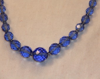 1950's Vintage Necklace // Blue Multi Faceted Crystal Beads