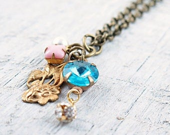 Flower Necklace,  Charm Necklace, Vintage Pink Bead, Blue Rhinestone Necklace, Vintage Style Jewelry, Mother's day gift