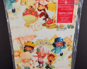 Vintage Strawberry Shortcake Scented Gift Wrap Wrapping Paper American Greetings