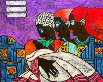 Generations of Love - ooak - 20 x 16ins (50x40cms) Four generations of women bonded together forever.