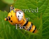 Reserved for Birgit: Little Caterpillar baby glass bead