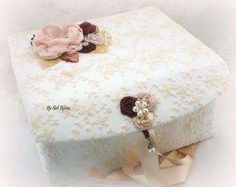 Wedding Keepsake Box,Blush,Champagne,Burgundy,Wine,Ivory,Elegant Wedding,Lace Box,Memory Box,Vintage Style,Baby, Pearls, Crystals, Brooch