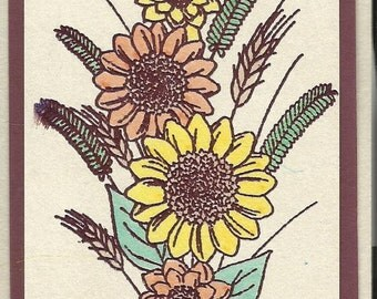 Sunflower Bouquet-Choice of Tags and Thank You Cards