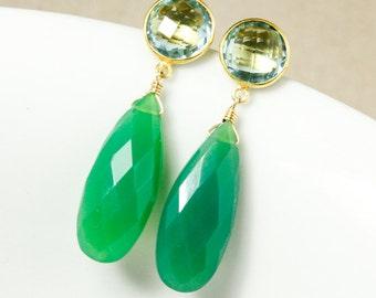 Gold Teal Quartz & Green Chrysoprase Earrings - Teardrop Earrings
