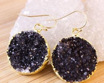 50 OFF SALE Gold Black Druzy Quartz Earrings - Medium Size - Dangle Earrings