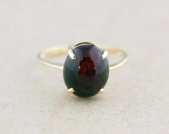CHRISTMAS SALE Black Opal Gemstone Ring - 10k Yellow Gold - October Birthstone