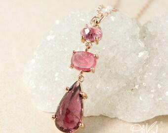 Three Stone Pink Tourmaline Teardrop Necklace – Rectangle and Oval Pink Tourmaline