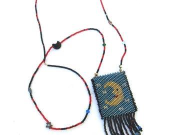 vintage artisan hand made   ...   micro beaded necklace   ...   mermaid  ...   moon