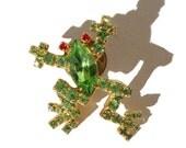 Vintage Frog Tie Tack Green Rhinestone Crystal Pin