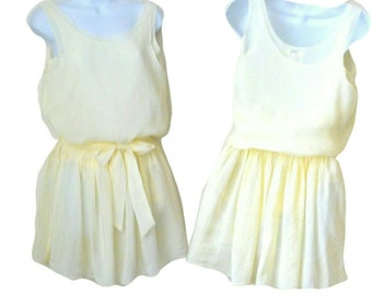 Mini Dress - Tunic Blouse - Pale - Yellow - Sleeveless - Romantic - Girly - Size Small - Ethereal - Silk - Cotton - Spring - Pullover