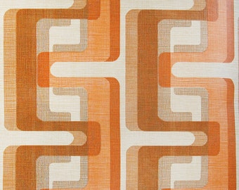 Vintage 1970s Wallpaper Orange Brown Mod Geometric Pop 70s Home Decor Style by the Yard