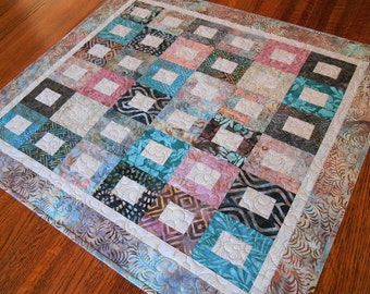 Quilted Batik Table Topper in Shades of Pink Aqua Blue and Brown, Large Table Topper, Quilted Tablecloth, Dining Table Decor