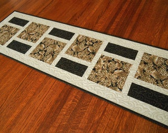 Wine Table Runner in Black Brown Taupe and Ivory, Modern Quilted Table Runner, Wine Decor, Modern Home Decor, Neutral Dining Table Decor