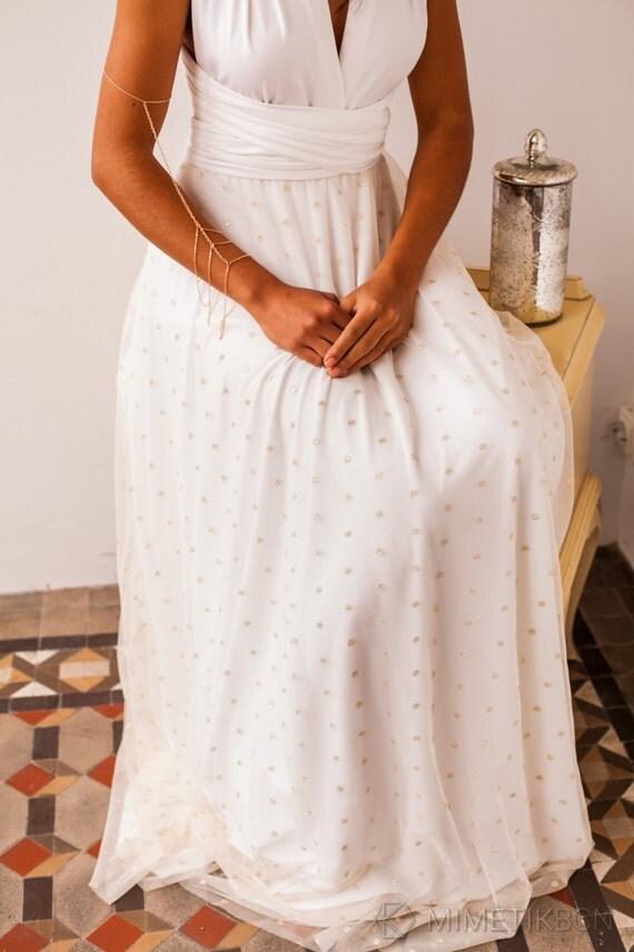 Removable tulle overskirt gold polka dot tulle skirt by for Removable tulle skirt wedding dress
