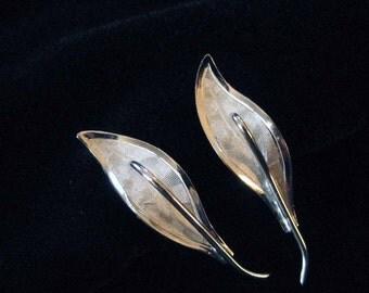 Graceful Sterling Silver Leaf Earrings, Screw Backs