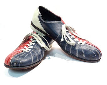 Mens Red White and Blue Team Cobra Men's Bowling Shoes Vintage 1970s 1980s Leather Rockabilly Oxfords Size 14
