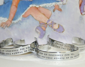Personalized | Memorial Bracelet | Sympathy Gift | Condolence Gift | Friend Gift | Hand Stamped | There Are No Goodbyes For Us | Gandi Quote