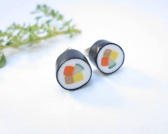 Sushi Stud Earrings, sushi earrings, unique futomaki earrings, sushi jewelry, Japanese rolls maki, polymer clay, food jewelry, food earrings