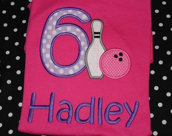 Bowling 6th birthday party shirt for girl or boy- any number