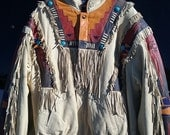 Fantastic Tan Leather Fringe Jacket Woven Beaded Coat Made In Mexico Size Large Exclusivos Baez