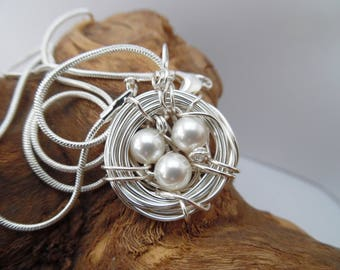 Birds Nest Necklace Pearls Eggs Bird Silver Pendant April Birthday
