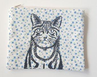 Cat illustration screen printed floral make up bag/clutch - Large
